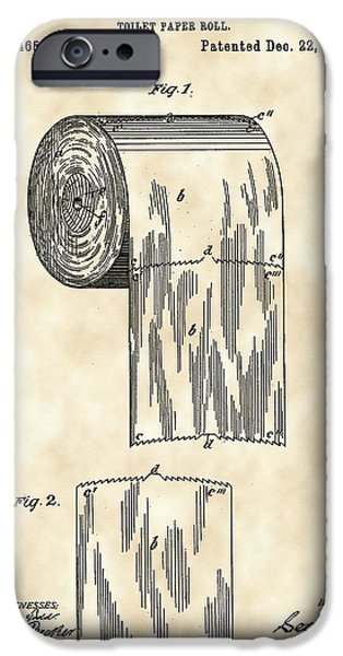 Ply iPhone Cases - Toilet Paper Roll Patent 1891 - Vintage iPhone Case by Stephen Younts