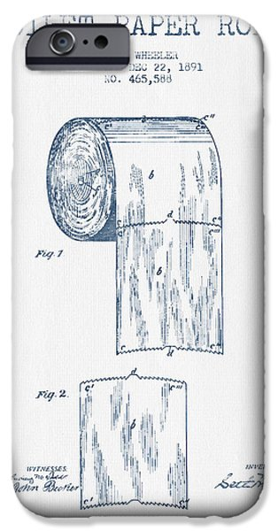 Tissue iPhone Cases - Toilet Paper Roll Patent Drawing From 1891  - Blue Ink iPhone Case by Aged Pixel