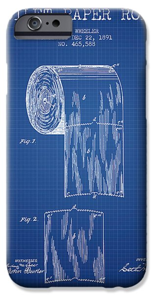 Tissue iPhone Cases - Toilet Paper Roll Patent Drawing From 1891 - Blueprint iPhone Case by Aged Pixel