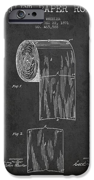 Tissue iPhone Cases - Toilet Paper Roll Patent Drawing From 1891 - Dark iPhone Case by Aged Pixel