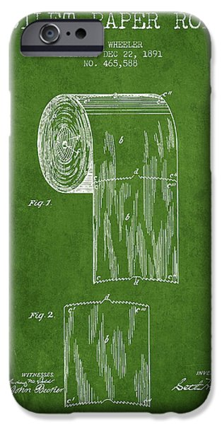 Tissue iPhone Cases - Toilet Paper Roll Patent Drawing From 1891 - Green iPhone Case by Aged Pixel