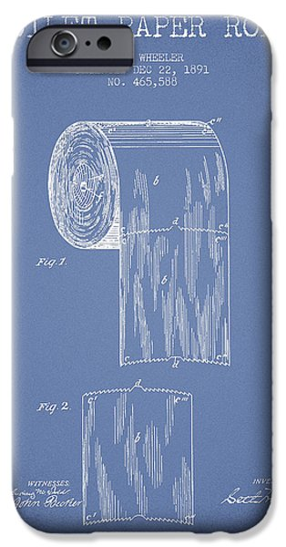 Tissue iPhone Cases - Toilet Paper Roll Patent Drawing From 1891 - Light Blue iPhone Case by Aged Pixel