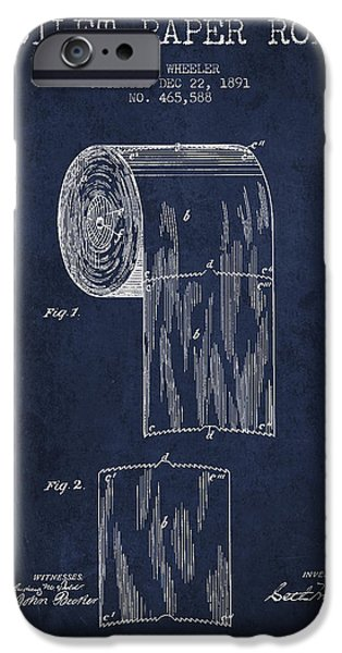 Tissue iPhone Cases - Toilet Paper Roll Patent Drawing From 1891 - Navy Blue iPhone Case by Aged Pixel