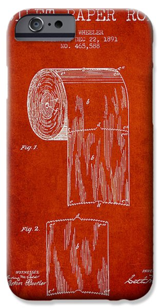 Tissue iPhone Cases - Toilet Paper Roll Patent Drawing From 1891 - Red iPhone Case by Aged Pixel