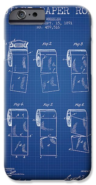 Tissue iPhone Cases - Toilet Paper Roll Patent from 1891 - Blueprint iPhone Case by Aged Pixel