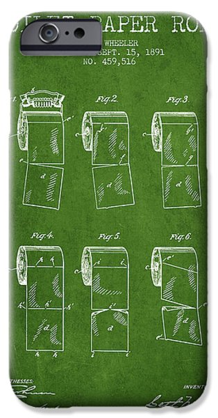 Tissue iPhone Cases - Toilet Paper Roll Patent from 1891 - Green iPhone Case by Aged Pixel