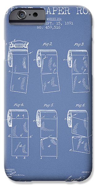 Tissue iPhone Cases - Toilet Paper Roll Patent from 1891 - Light Blue iPhone Case by Aged Pixel