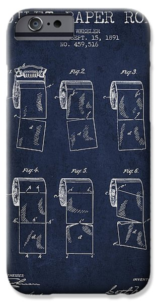 Tissue iPhone Cases - Toilet Paper Roll Patent from 1891 - Navy Blue iPhone Case by Aged Pixel