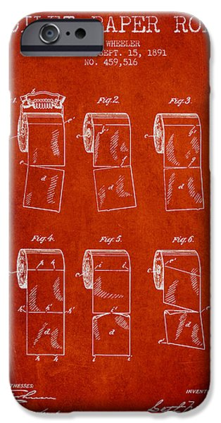 Tissue iPhone Cases - Toilet Paper Roll Patent from 1891 - Red iPhone Case by Aged Pixel