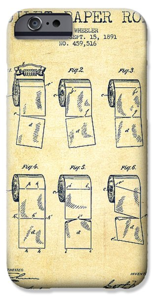 Tissue iPhone Cases - Toilet Paper Roll Patent from 1891 - Vintage iPhone Case by Aged Pixel