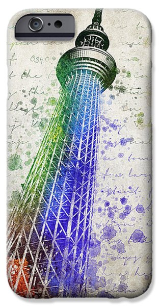 Downtown Mixed Media iPhone Cases - Tokyo Skytree iPhone Case by Aged Pixel
