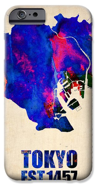 States iPhone Cases - Tokyo Watercolor Map 2 iPhone Case by Naxart Studio