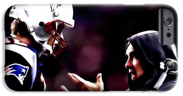 Randy Moss iPhone Cases - Tom Brady and Coach iPhone Case by Brian Reaves