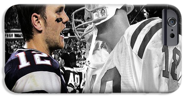Patriots iPhone Cases - Tom Brady and Peyton Manning Face Off 1 iPhone Case by Brian Reaves