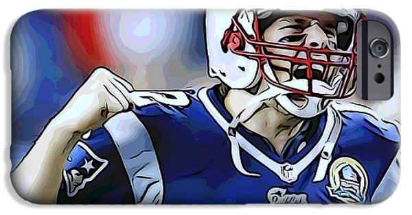 Tom Brady iPhone Cases - Tom Brady iPhone Case by Dan Sproul