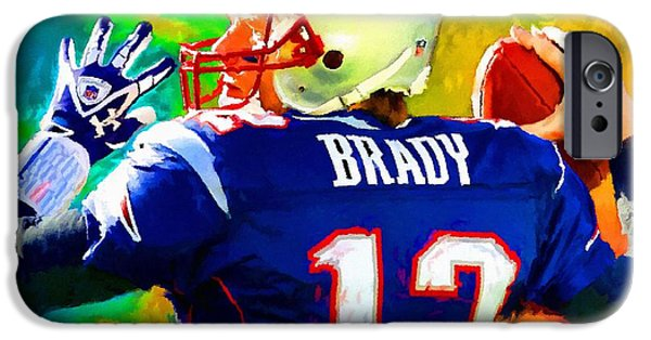 Tom Brady iPhone Cases - Tom Brady Football Art Painting iPhone Case by Andres Ramos