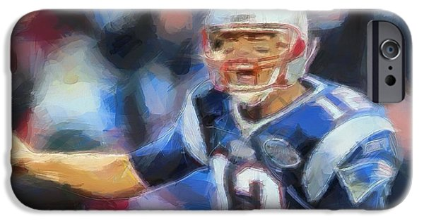 Tom Brady iPhone Cases - Tom Brady New England Patriots iPhone Case by Dan Sproul