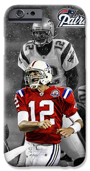 Shoe iPhone Cases - Tom Brady Patriots iPhone Case by Joe Hamilton