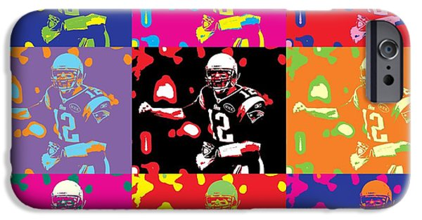 Tom Brady iPhone Cases - Tom Brady Pop Art iPhone Case by Dan Sproul