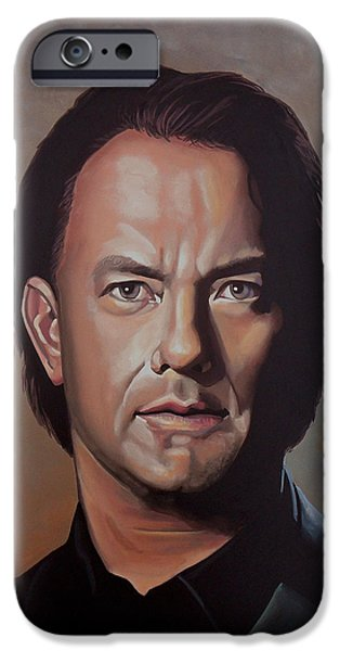 Celebrities Art iPhone Cases - Tom Hanks iPhone Case by Paul Meijering
