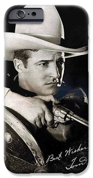 Recently Sold -  - Autographed iPhone Cases - Tom Mix portrait Melbourne Spurr Hollywood California c.1925-2013 iPhone Case by David Lee Guss