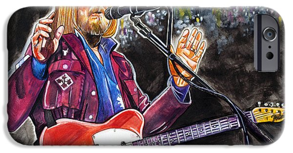 Fenway Park Drawings iPhone Cases - Tom Petty at Fenway Park iPhone Case by Dave Olsen