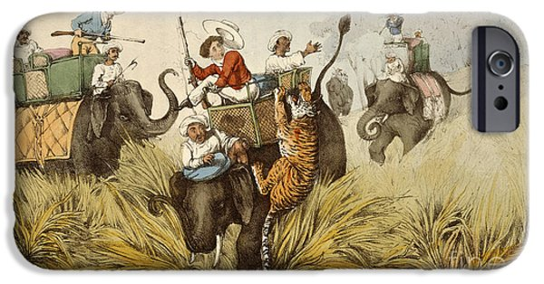 The Tiger Hunt iPhone Cases - Tom Raw In Danger iPhone Case by British Library