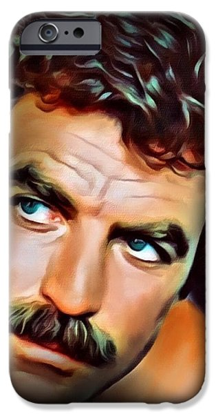 Digital Designs iPhone Cases - Tom Selleck iPhone Case by Scott Wallace