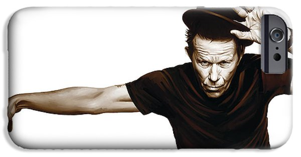 Singer Mixed Media iPhone Cases - Tom Waits Artwork  4 iPhone Case by Sheraz A