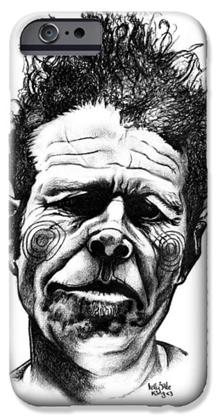 Love Drawings iPhone Cases - Tom Waits iPhone Case by Kelly Jade King