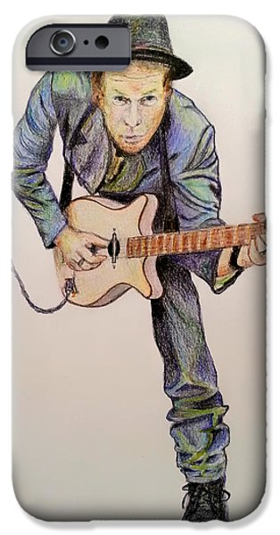Electric Drawings iPhone Cases - Tom Waits iPhone Case by Mountain Dreams
