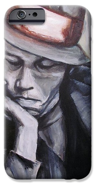 Celebrities Portrait iPhone Cases - Tom Waits one iPhone Case by Eric Dee