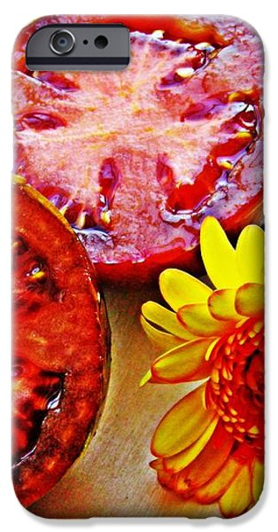 Tomato and Daisy 2 iPhone Case by Sarah Loft