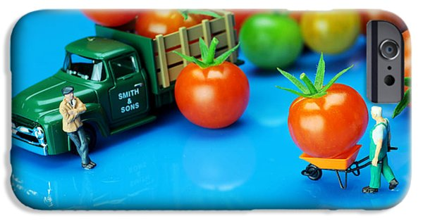 Business Digital iPhone Cases - Tomato business little people on food iPhone Case by Paul Ge