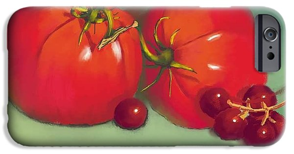 Concord Digital Art iPhone Cases - Tomatoes and Concord Grapes iPhone Case by Dessie Durham