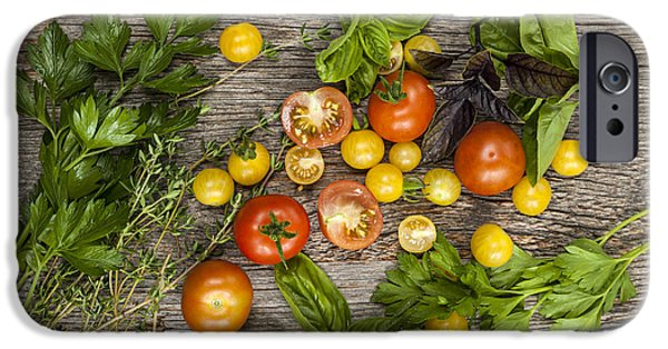Gardening iPhone Cases - Tomatoes and herbs iPhone Case by Elena Elisseeva