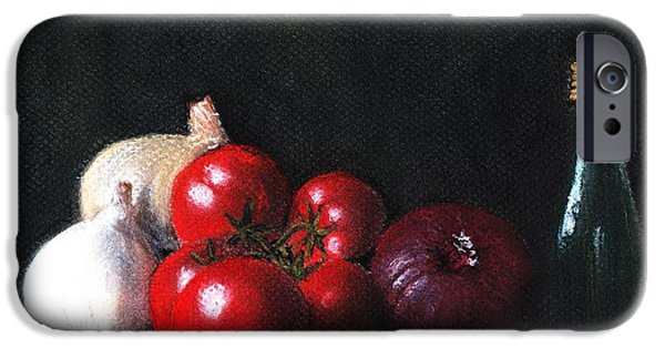 Interior Still Life Pastels iPhone Cases - Tomatoes and Onions iPhone Case by Anastasiya Malakhova