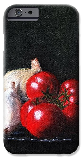 Food And Beverage Pastels iPhone Cases - Tomatoes and Onions iPhone Case by Anastasiya Malakhova