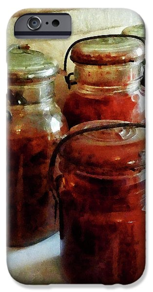 Tomatoes and String Beans in Canning Jars iPhone Case by Susan Savad