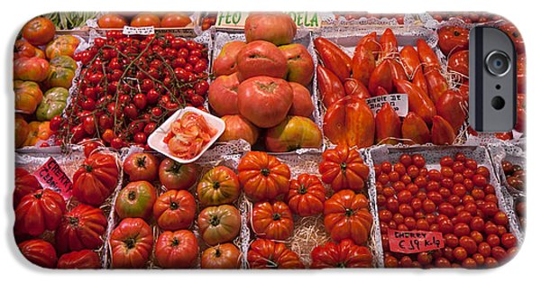Santa iPhone Cases - Tomatoes At A Market Stall, Santa iPhone Case by Panoramic Images
