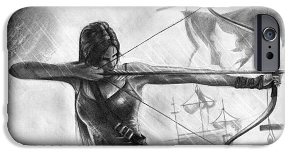 Tomb Drawings iPhone Cases - Tomb Raider iPhone Case by Elisa Matarrese