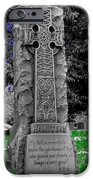 Cemetary iPhone Cases - Tombstone iPhone Case by Mark Malitz