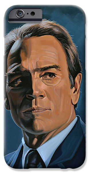 Celebrities Art iPhone Cases - Tommy Lee Jones iPhone Case by Paul  Meijering