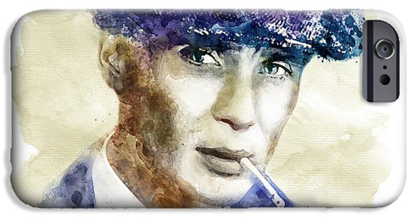 Drama iPhone Cases - Tommy Shelby watercolor iPhone Case by Marian Voicu