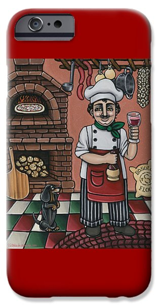 Italian Wine Paintings iPhone Cases - Tommys Italian Kitchen iPhone Case by Victoria De Almeida