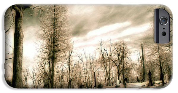 Graveyard Road iPhone Cases - Toned Infrared Graveyard  iPhone Case by Gothicolors Donna Snyder