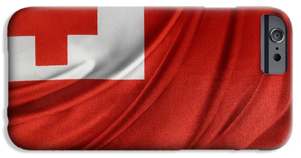 Patriotism iPhone Cases - Tongan flag iPhone Case by Les Cunliffe