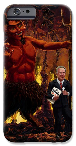 Tony Blair in Hell with Devil and holding Weapons of Mass Destruction document iPhone Case by Martin Davey