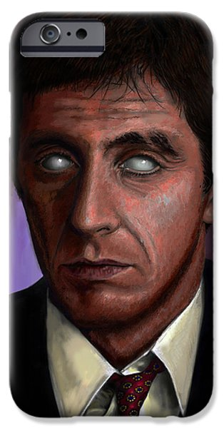Scarface Digital Art iPhone Cases - Tony iPhone Case by Jesus Torrado