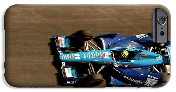 Indy Car On Canvas iPhone Cases - Tony Kanaan iPhone Case by Denise Dube